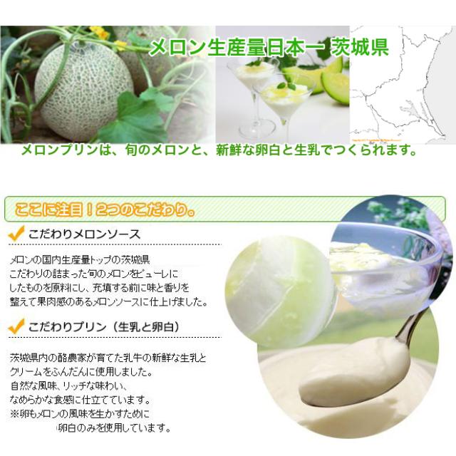 メロン生産量日本一!茨城県産のメロンを使用。ここに注目に!2つのこだわり。 1.こだわりメロンソース:メロンの国内生産量トップの茨城県産のこだわりの詰まった旬のメロンをピューレにしたものを原料にし、充填する前に味と香り整えてか聞く案のあるメロンソースに仕上げました。 2.こだわりプリン(生乳と卵白)茨城県内の酪農家が育てた乳牛の新鮮な生乳とクリームをふんだんに使いました。自然な風味、リッチな味わい、滑らかな食感に仕立てています。※卵もメロンの風味を生かすために卵白のみを使用しています。