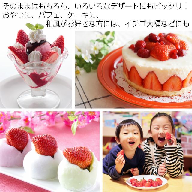 そのままはもちろん、いろんなデザートにもぴったり,お子様にも甘いと大好評,おやつに、苺パフェ、ケーキ、いちご大福に