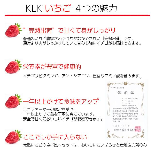 KEK,完熟いちごの食べ比べセット,新鮮で甘いイチゴ、4つの魅力。