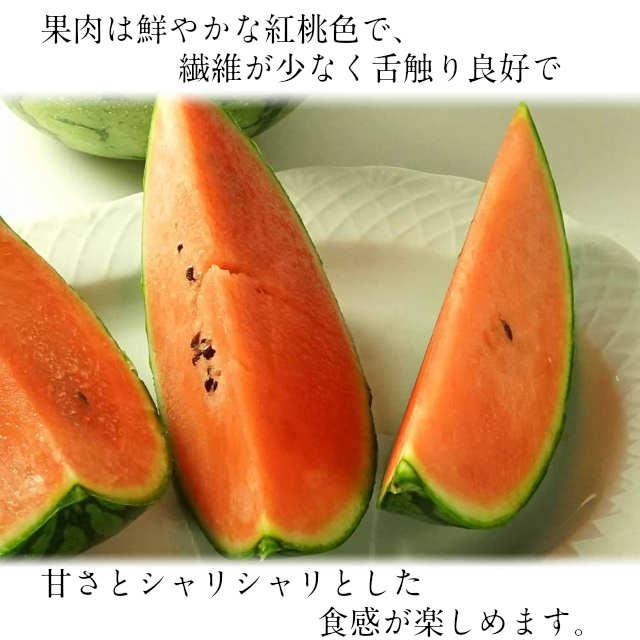 小玉スイカ,西瓜,すいか,果肉は鮮やかな紅桃色で、繊維が少なく舌触り良好で甘さとシャリシャリとした食感が楽しめます。