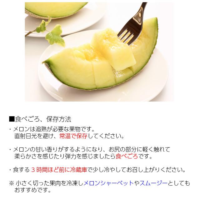 メロンの保存方法と食べごろ。・メロンは過熟が必要な果物です。直射日光を避け、常温で保存してください。・メロンの香りがするようになり、お尻の部分に軽く触れて柔らかさを感じたり弾力を感じましたら食べごろです。・食する3時間ほど前に冷蔵庫で少し冷やしてお召し上がりください。・小さく切った果肉を冷凍しメロンシャーベットやスムージーとしてもおすすめです。