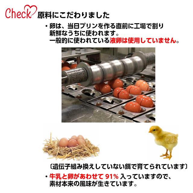 3.卵は、当日プリンを作る直前に割り新鮮なうちに使われます。一般的に使われる液卵は使用しておりません。