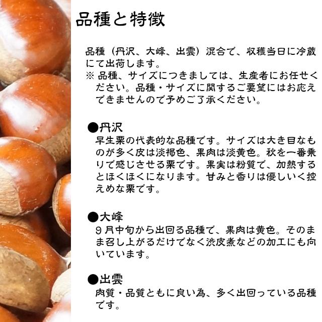 栗の品種と特徴,利平,丹沢,大峰,鶴井さんちのくり,お取り寄せ,ギフト