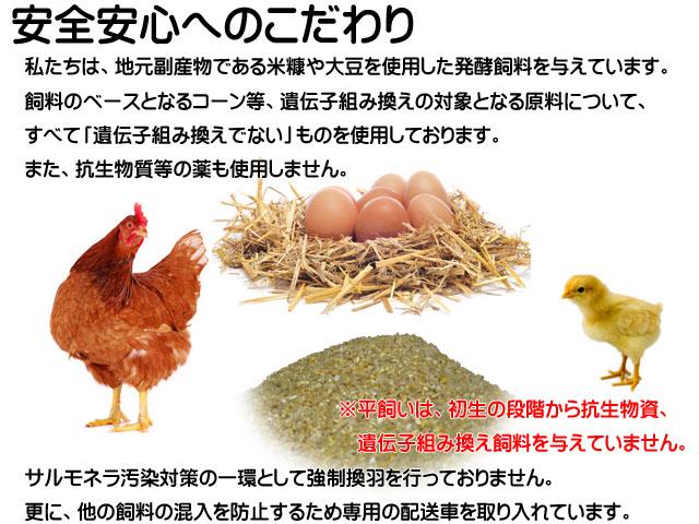 安全安心へのこだわり,地元副産物である米糠や大豆を使用した発酵飼料,「遺伝子組み換えでない」飼料使用,抗生物質等の薬不使用 強制換羽を行わず他の資料の混入を防止するため専用の配送車を導入